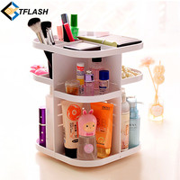 Korean Style Tabletop 360 Degree Rotating Large Capacity Cosmetic Organizer Box for Skincare bathroom makeup storage Dresser