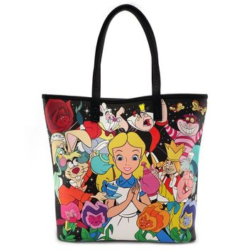 Disney Alice in Wonderland Character Print Tote Bag by Loungefly