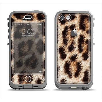 The Leopard Furry Animal Hide Apple iPhone 5c LifeProof Nuud Case Skin Set