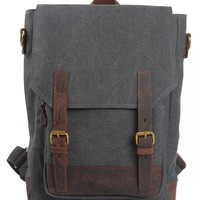 Unisex Genuine Leather Canvas Casual Backpack Rucksack Laptop Bag School Bookbag