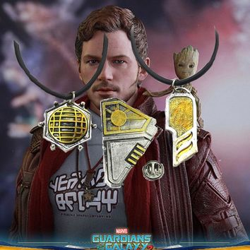 Guardians of the Galaxy VOL.2 Star Lord Pendant Necklace and Badge Lapel Pins Peter Quill Superhero Cosplay Movie Jewelry