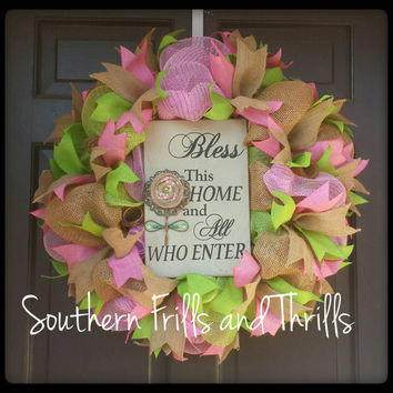 Deco Mesh Wreath, Spring Wreath, Welcome Wreath, Wreath, Door Hanger, Burlap Wreath