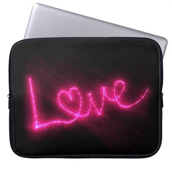 Love in Pink Lights Computer Sleeve