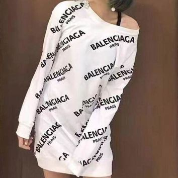 Gotopfashion Balenciaga Fashion Women Cotton Print Long Sleeve Mini Dress(3-Color) White I