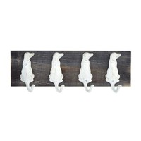 "5""x15"" White Dogs 4-Hook Coat Hanger"