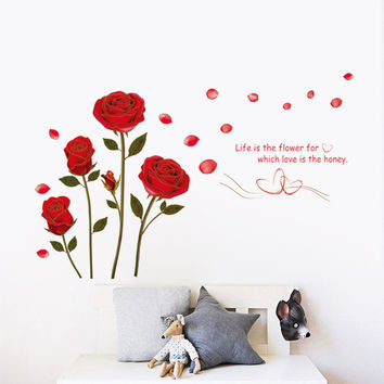 Wall sticker red roses sitting room bedroom home decoration wall stick PE PVC mobile stick on the wall SM6