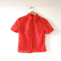 Vintage 50s red blouse. short sleeve shirt. sheer blouse. Polka dotted collared shirt. Holiday modern top.