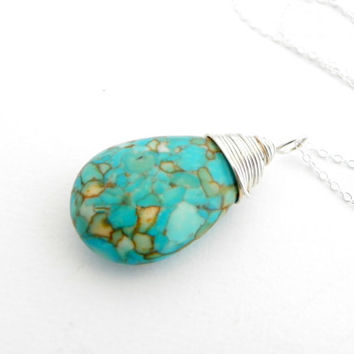 Turquoise Pendant Necklace, Wire Wrapped Teardrop, Sterling Silver Necklace, Turquoise Jewelry, Aqua Necklace, Green and Blue, Drop Necklace