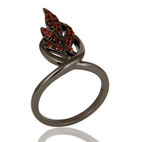 Oxidized Sterling Silver and Garnet Gemstone Ring Beautiful Designer Jewelry