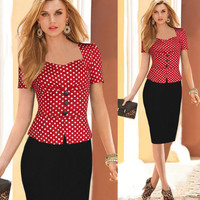 Womens Vintage Pinup Trendy Wiggle Office Dress