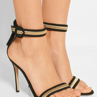 Gianvito Rossi - Marshal metallic embroidered suede sandals