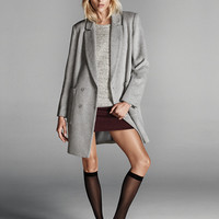 FOREVER 21 MA(c)lange Boyfriend Coat Heather Grey