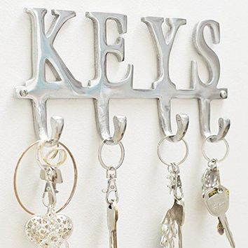 "Key Holder ""Keys"" – Wall Mounted Key Holder - 4 Key Hooks Rack - Decorative Cast Aluminum Key Rack - Polished Finish - with Screws and Anchors - by Comfify (Keys AL-1507-20)"