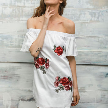 White Floral Embroidered Off Shoulder Dress