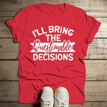 Men's Matching Party T Shirts Bachelor Party TShirt Best Friends Bring The Questionable Decisions Tee