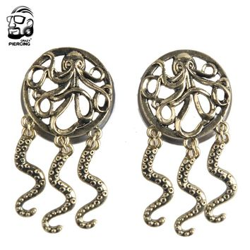 2017 New 316L  Stainless Steel Octopus Fashion Design Ear Plugs Hollow Expander Stretche Flesh Tunnels  Body Piercing Jewelry