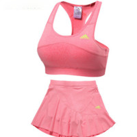 Trendsetter Adidas Gym Sport Yoga Embroidery Vest Tank Top Cami Shorts Set Two-Piece Sportswear