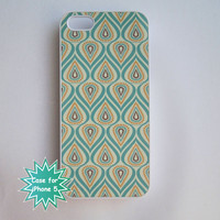iPhone 5 Case Pal Yellow and Aqua Pattern Ships from USA White Plastic Case