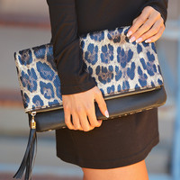 Fierce Leopard Clutch - Black & Gold