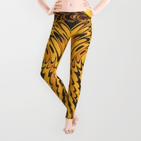 Liquidelica | Orange+Black Leggings by Webgrrl