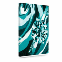 "Nl Designs ""Happy Engagement Tiffany"" Teal White Canvas Art"