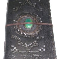 Leather Bound Journal Turquoise Center stone