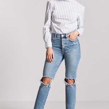 Striped Mock Neck Top