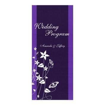 Wedding Program | Purple Flower Butterfly Invite