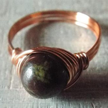 Dragon Blood Jasper Ring, Copper Ring, Wire Wrapped Ring, Copper Jasper Ring, Dark Stone Ring, Jasper Jewelry, Valentines Gift for Her