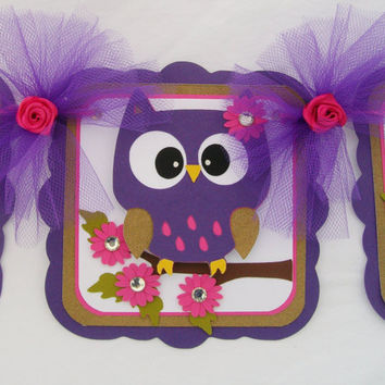 Purple owl baby shower banner, purple, fuchsia, gold and white, its a girl banner