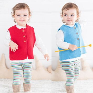 baby girl vest waistcoat spring autumn blue sleeveless sweater for boys red knitted cardigan infant clothes baby boy clothing