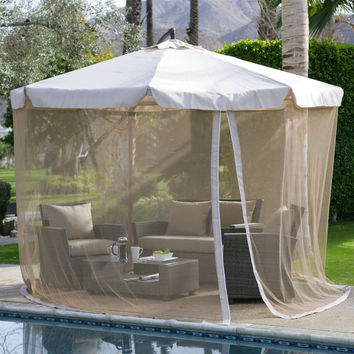 Modern 11-FT Cantilever Offset Patio Umbrella In Tan With Removable Netting