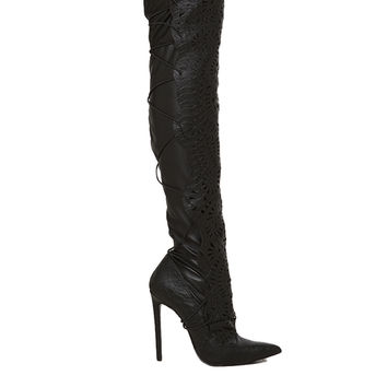 Lust For Life Lexx Tie Back Snakeskin Textured Lasercut Thigh High Pointed Toe Boots - Black