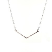 Silver Chevron Bar Necklace -