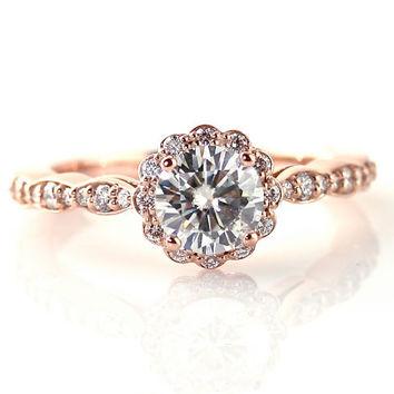 14K Rose Gold Moissanite Engagement Ring Diamond Halo 18K Platinum Palladium Bridal Jewelry