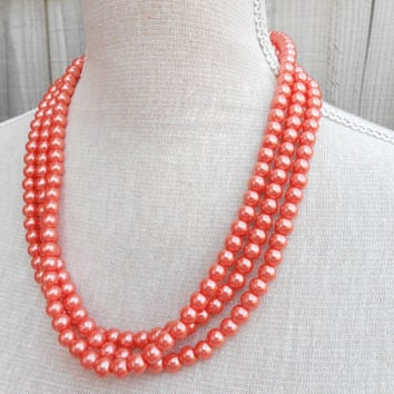 Orange pearl necklace, great for Wedding, Bride, Bridal, Birthday gift, Christmas, Anniversary, Valentine, Mother day, Friends gift
