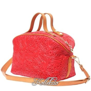 Red Genuine Italian Leather MakeUp Bag with Long Strap