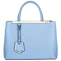 Fendi women's leather handbag shopping bag purse 2jours blu