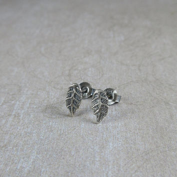 Delicate Leaf Earrings, Sterling Silver Leaf Stud Earrings, Minimalist Post Earrings