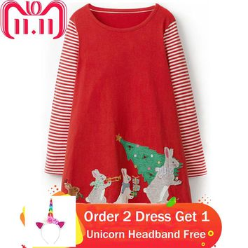 Baby Girls Dress with Animal Applique 2018 Autumn Princess Dress Christmas Costume for Kids Clothes Long Sleeve Children Dresses