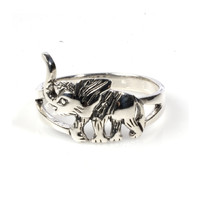 925 Sterling Silver Elephant Airavata 11MM Ring