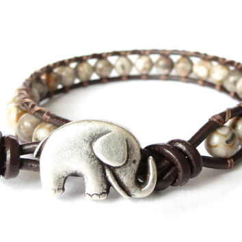 Hipster elephant bracelet with ocean fossil jasper, hippie bracelet for women, gift for best friend