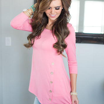 One Sided Button Top Light Pink