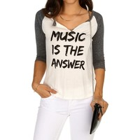 Promo-ivory Music Is The Answer Tee