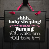 Shhhh Baby Is Sleeping Door Sign - Baby Girl Sleeping Door Sign - Girl Napping Door Sign - Please Be Quiet Baby Sleeping Sign - Funny Sign