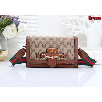 GUCCI Popular Women Shopping Bag Leather Crossbody Satchel Shoulder Bag Brown
