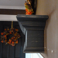 "Black Mantle, 48""L Black Shelf / Mantel, Floating Shelf, Wall Hanging, Fireplace Mantel, Shabby and Chic"