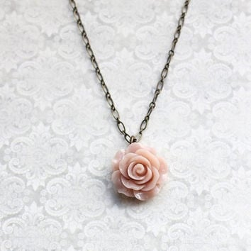 Blush Rose Necklace Romantic Vintage Inspired Spring Wedding Floral Jewellery Bridesmaids Gift Flower Pendant Dusty Pink Nude Country Chic