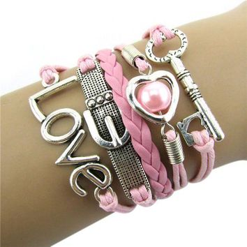 DCCKV2S Bestpriceam Fashion Infinity Heart Pearl Love Key Leather Alloy Charm Bracelet Pink