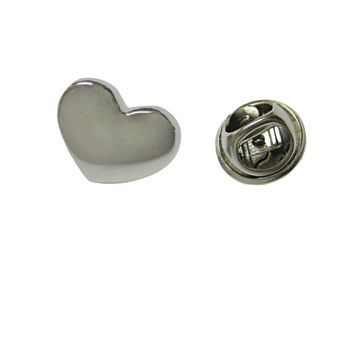 Silver Toned Curved Heart Wedding Lapel Pin